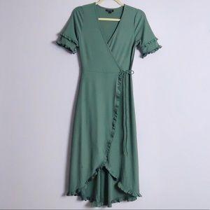 Topshop Midi Ruffle Wrap Dress